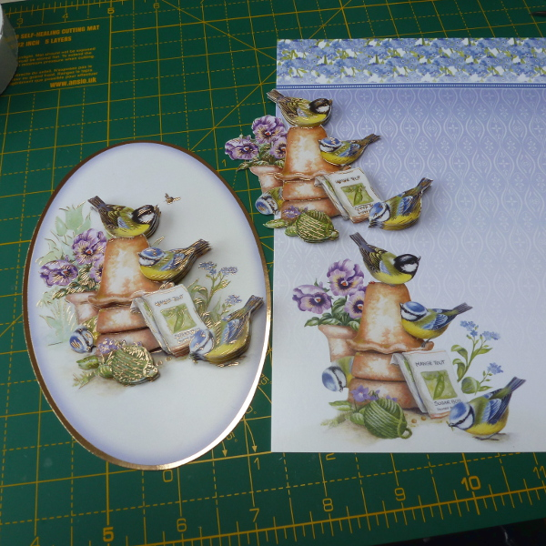 Same foiled bird design by Hunkydory crafts ready to place on handmade cards