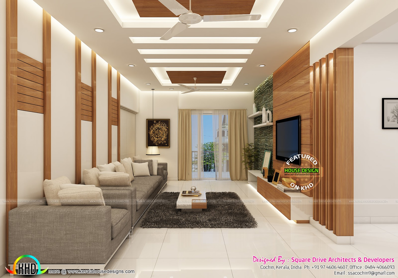Modern interior designs of bedroom living dining and for Modern living room in kerala