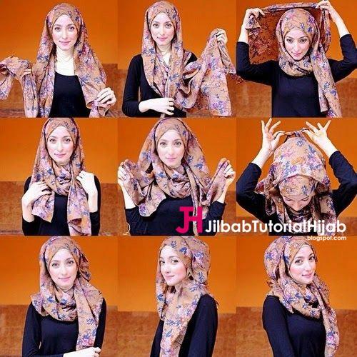 Kumpulan Gambar Tutorial Cara Memakai Hijab Batik