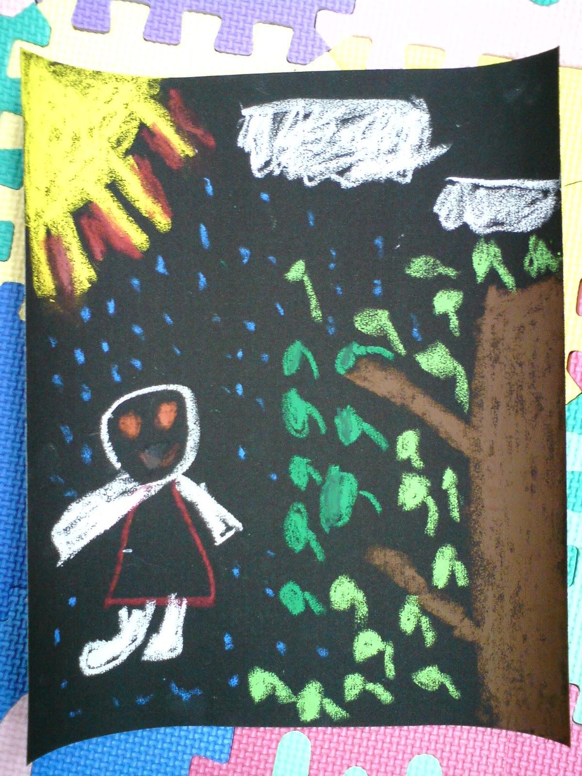 竹崎鄉中和國小一年甲班: 美勞作品:太陽雨