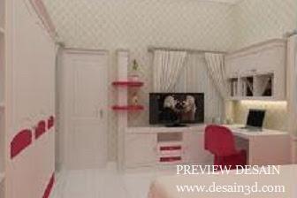 Jasa gambar berpengalaman desain interior kamar anak cewek secara online
