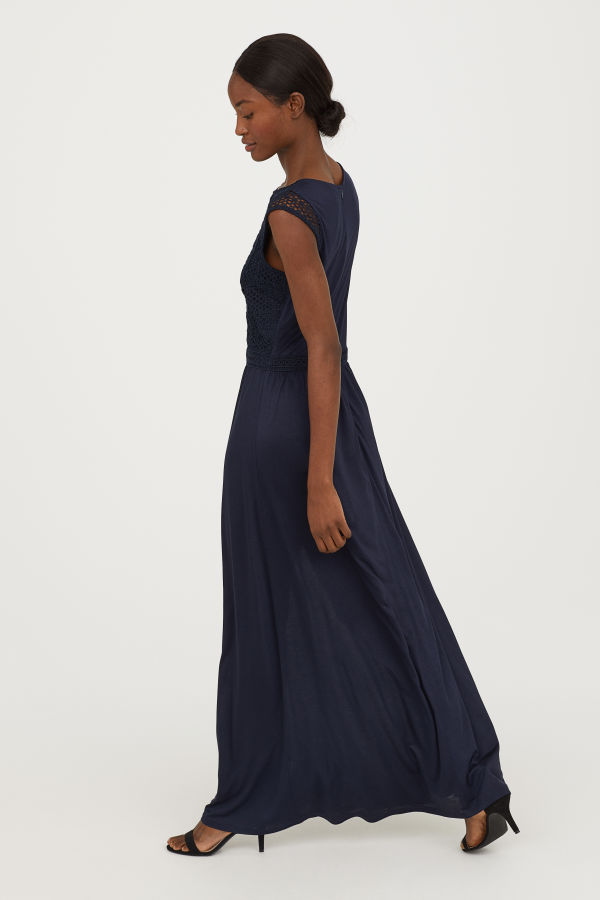 Long dress with a lace bodice