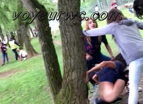 Girls Gotta Go 46 (Voyeur pee videos - Drunk spanish chicks peeing in public at festival)