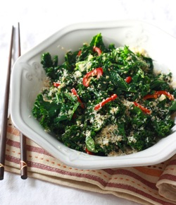 Kale recipe with asian dressing