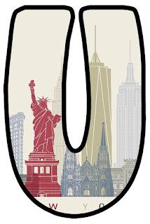 Statue of Liberty Letter. Letras con la Estatua de la Libetad.