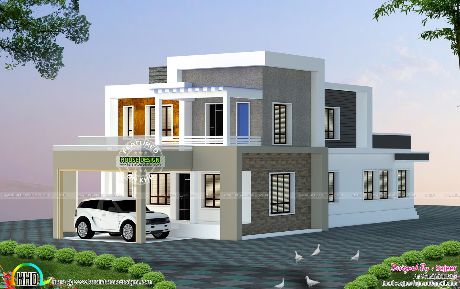 2300 sq ft house all side views kerala home design and for Side by side plans