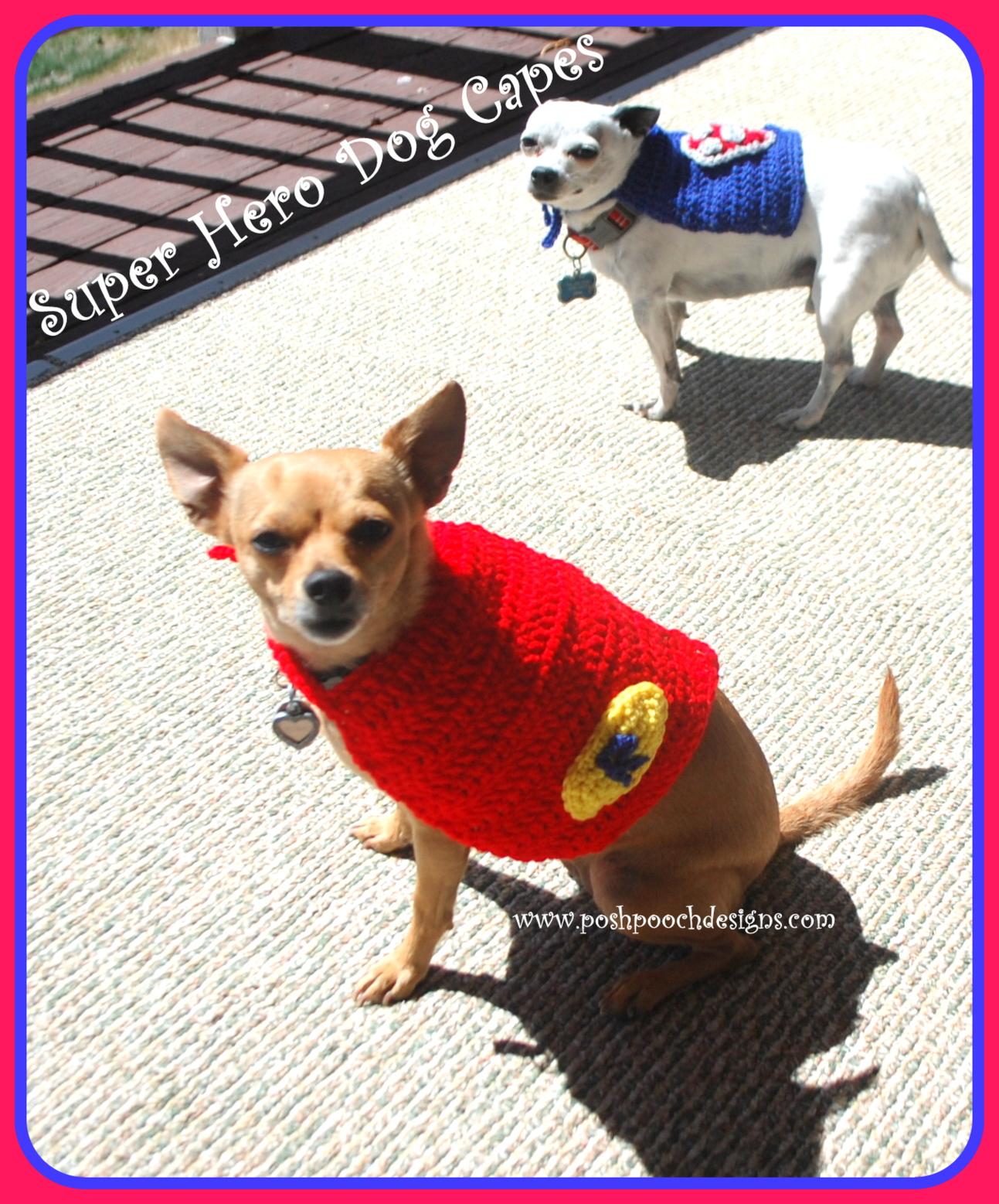 Posh Pooch Designs Dog Clothes: Super Hero Dog Cape Free Crochet ...