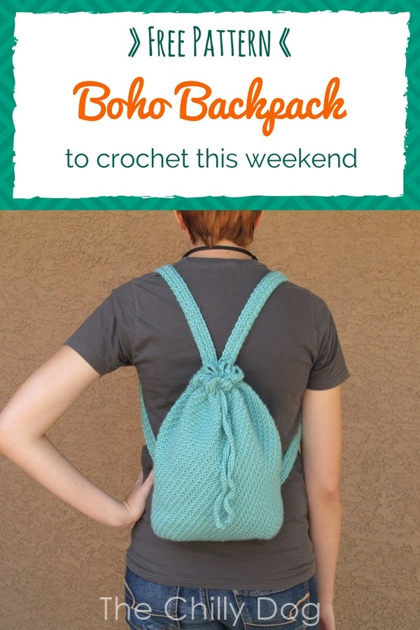 Free Crochet Pattern: Easy to crochet boho backpack or purse