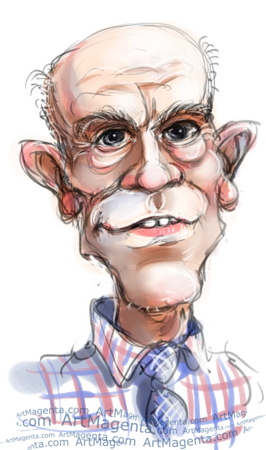 John Malkovich caricature cartoon. Portrait drawing by caricaturist Artmagenta