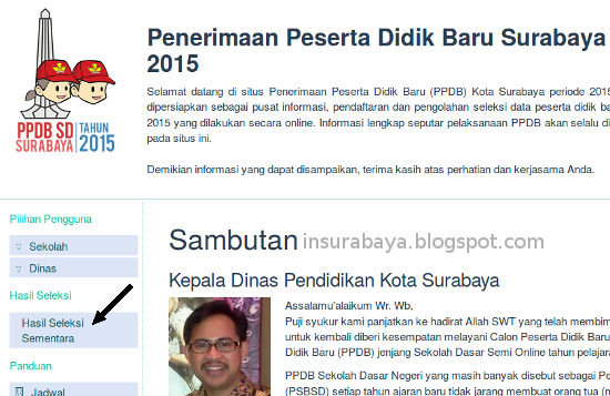 cek hasil PPDB SD Surabaya 2016
