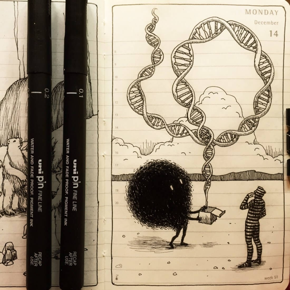 05-Is-DNA-all-we-are-Nina-Johansson-Moleskine-Diary-of-Surreal-Ink-Drawings-www-designstack-co
