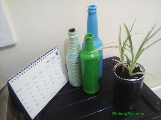 Cara membuat hiasan botol bekas dengan cat
