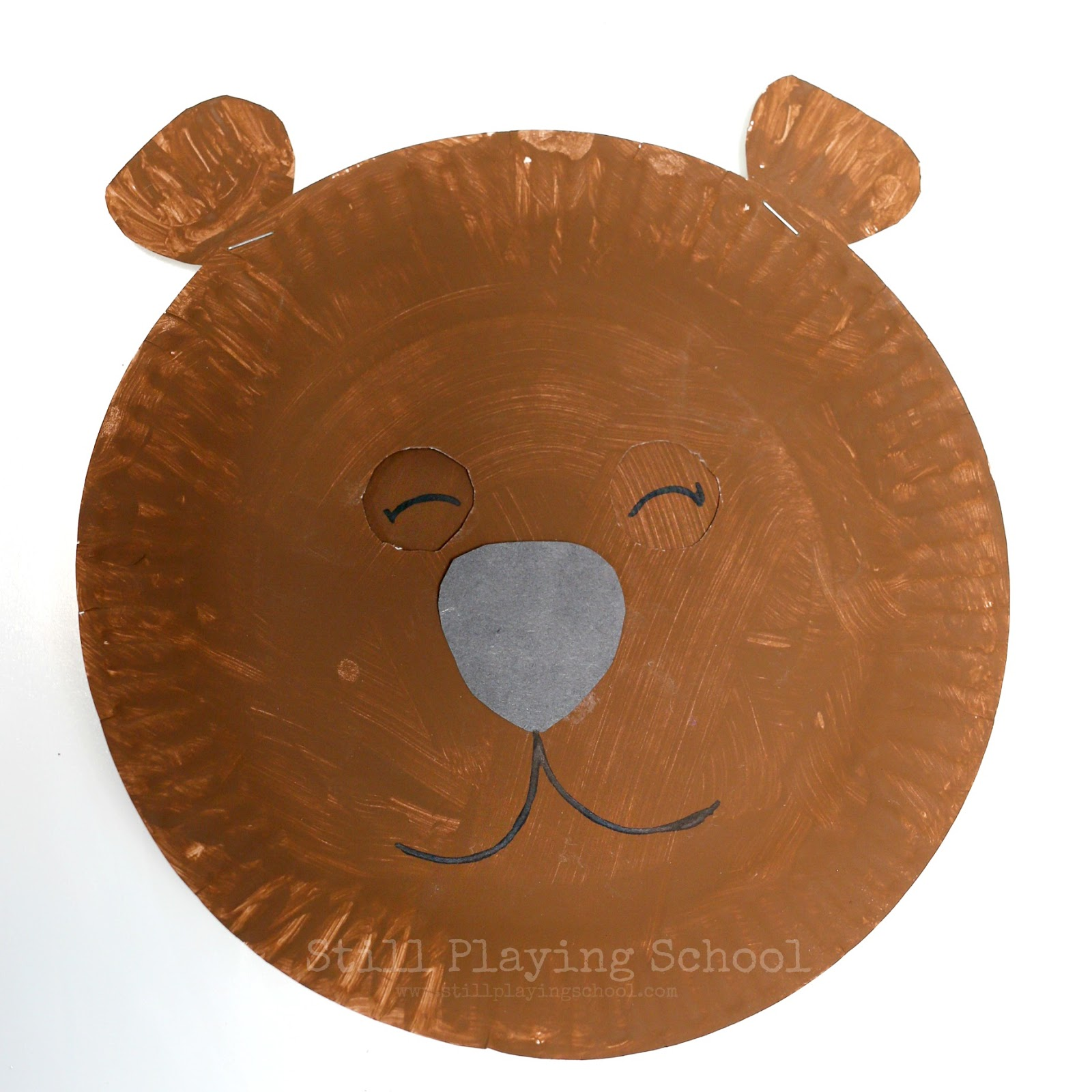 ... creating this bear craft that switches back and forth with a spin! You will need two paper plates brown paint a brad black and white paper and glue.  sc 1 st  Still Playing School & Hibernating Bear Craft for Kids | Still Playing School