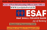 ESAF Small Finance Bank Recruitment 2017– 1660 Sales Officer, Relationship Officer
