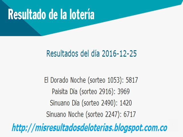Resultados del dia de las loterias-Diciembre-25-2016