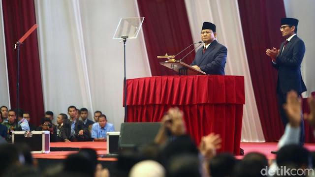 Pidato 'Indonesia Menang', Prabowo Kutip Surat Ar-Ra'd Ayat 11