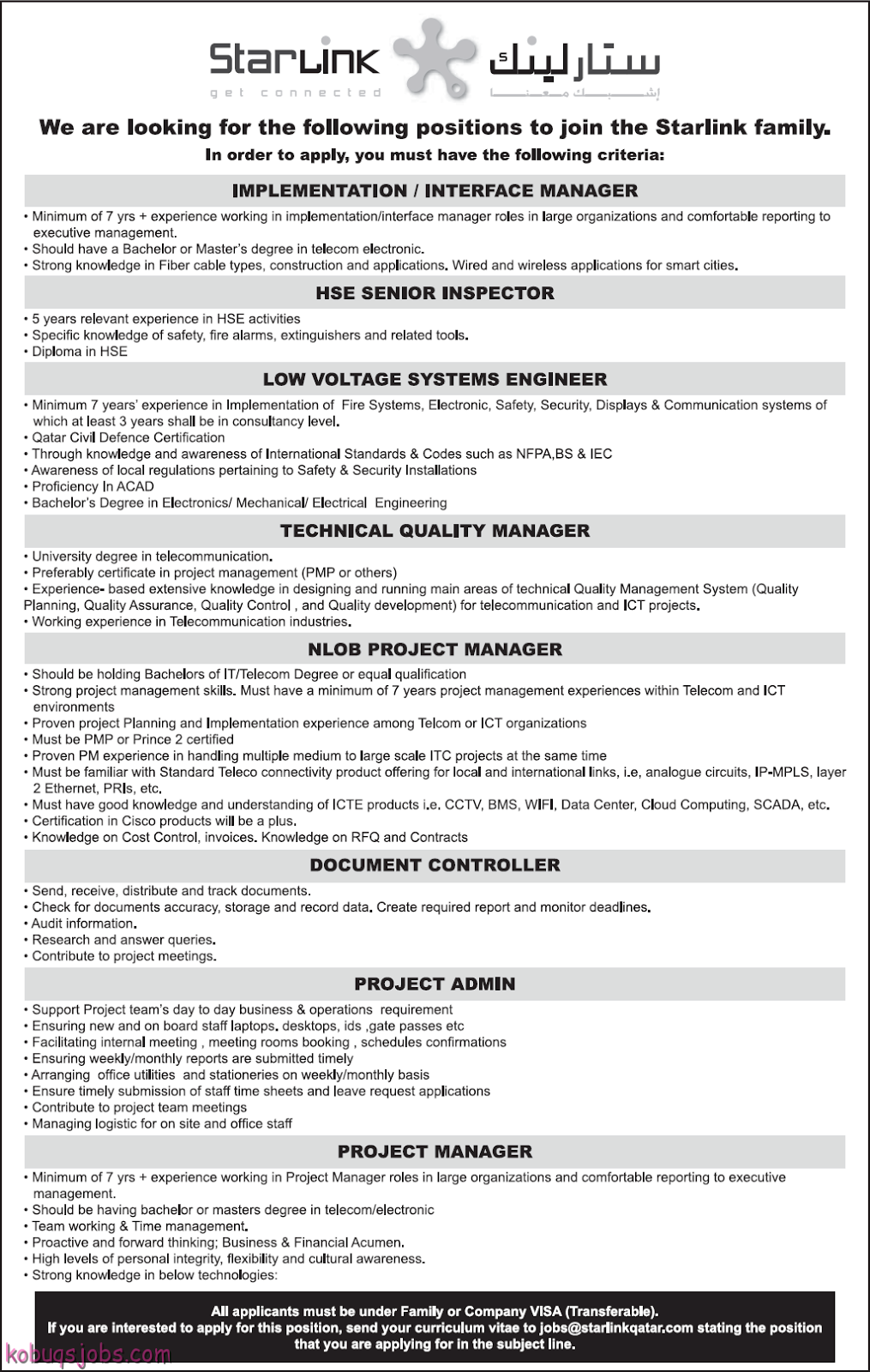 Job Opportunities In Starlink Qatar - Gulf Jobs for Malayalees