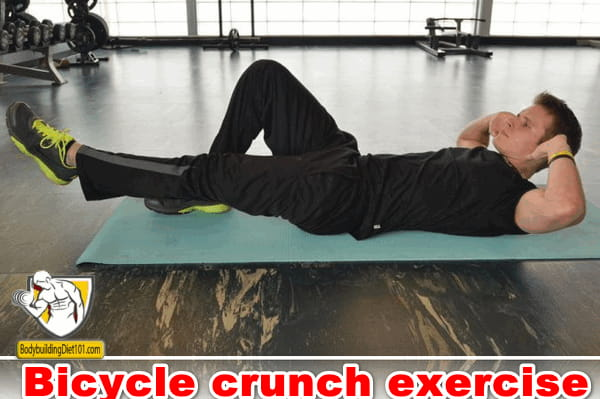 The Bicycle crunch exercise is a great bodybuilding exercise to target the rectums abdominis