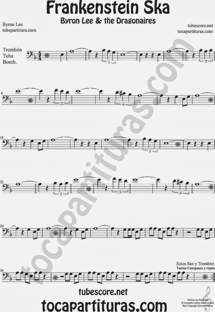 Frankenstein Ska Partitura de Trombón, Tuba y Bombardino Sheet Music for Trombone, Tube and EuphoniumMusic Scores Byron Lee & The Dragonaires