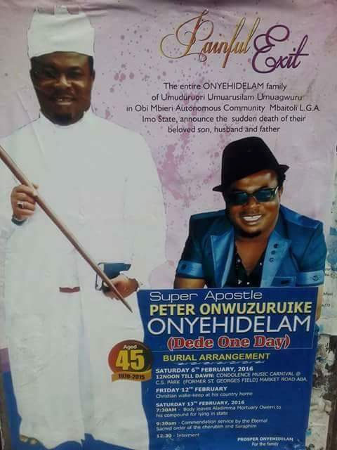 Comedian 'Dede One Day': Obituary Posters Hit The Streets, To Be Buried On 6th February (Photos)