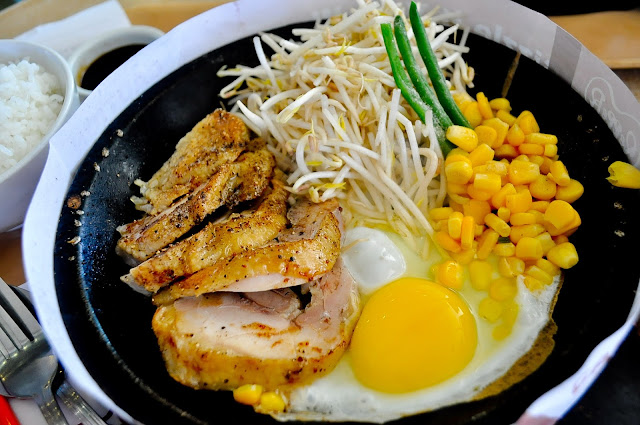 terriyaki chicken egg and corn