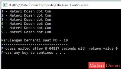 Contoh Program dengan Continue C++