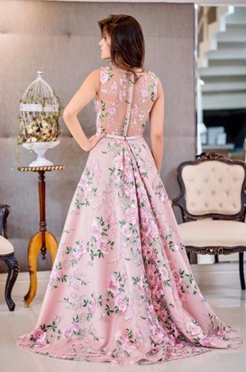 vestido de festa estampa floral
