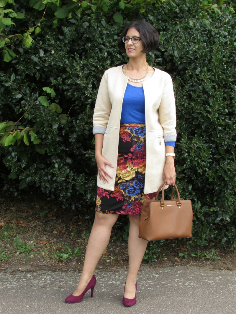 Oversized coat and Next floral skirt