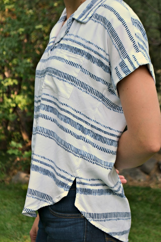Me Made: Striped Rayon Willamette + Using Fabric as Interfacing