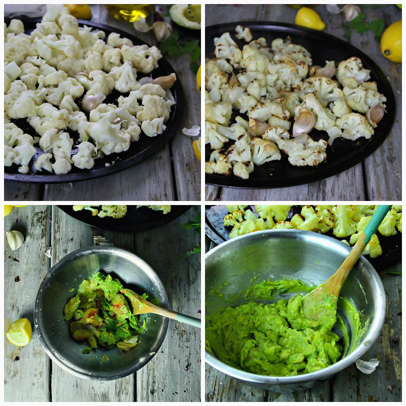 Guacamole over Roasted Cauliflower