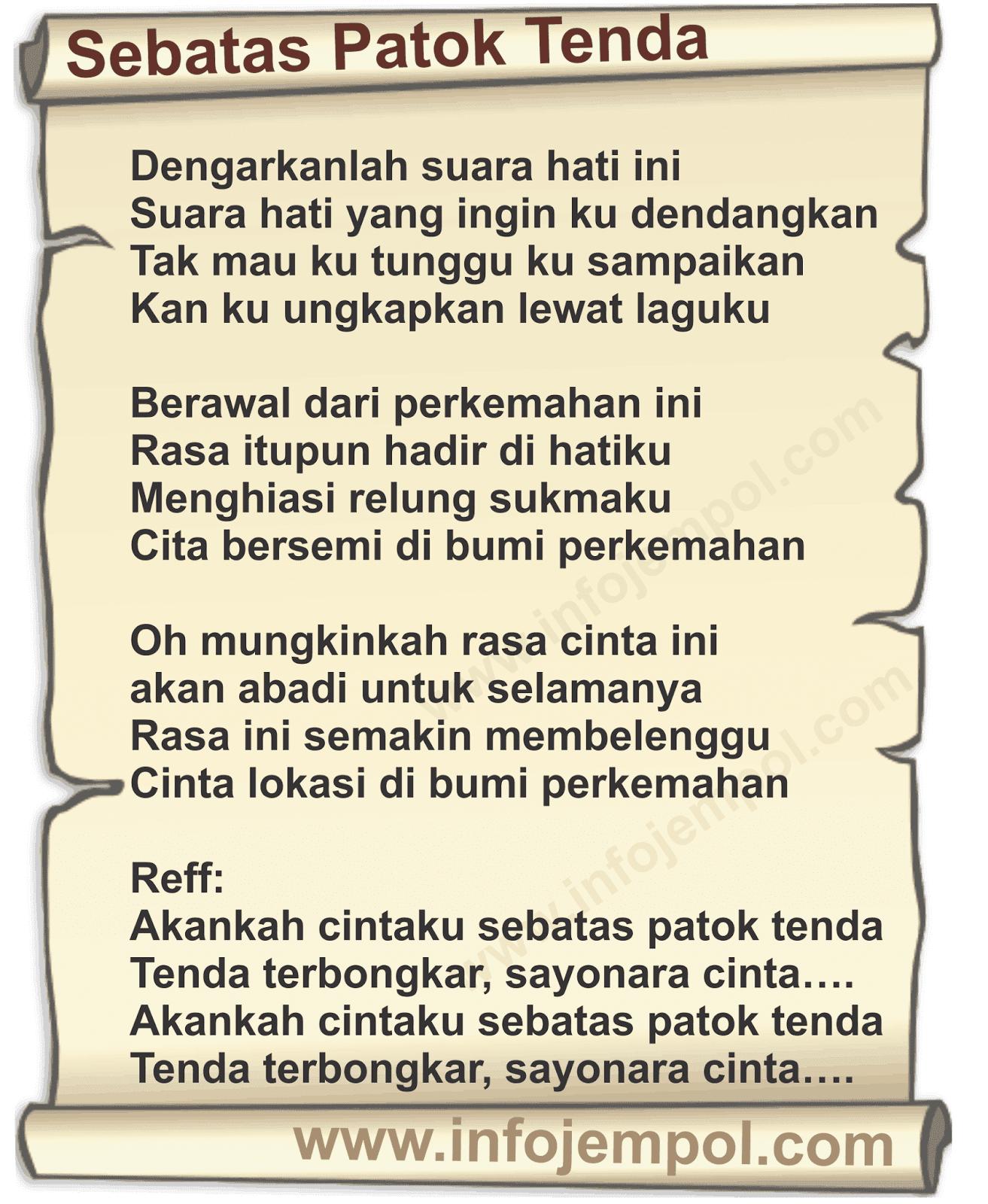 Download Lagu Pramuka Cinta Sebatas Patok Tenda : download, pramuka, cinta, sebatas, patok, tenda, Lirik, Sebatas, Patok, Tenda, (Download