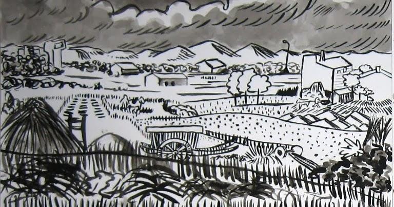 Immagin rti paesaggi di van gogh for Disegni bianco e nero paesaggi
