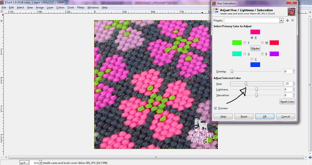 Screenshot showing how to adjust the hue-saturation levels to change the colours of a needlepoint design in Gimp