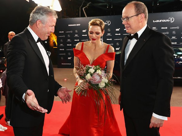 Princess Charlene of Monaco attended the 2017 Laureus World Sports Awards, wore Louis Vutton red gown