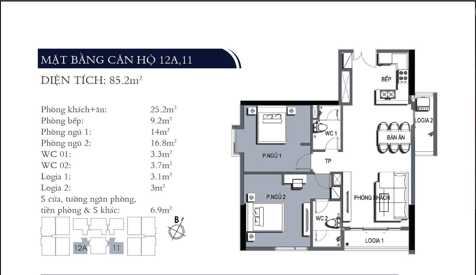 Mặt bằng căn hộ 11 và 12A dự án One 18 Ngọc Lâm