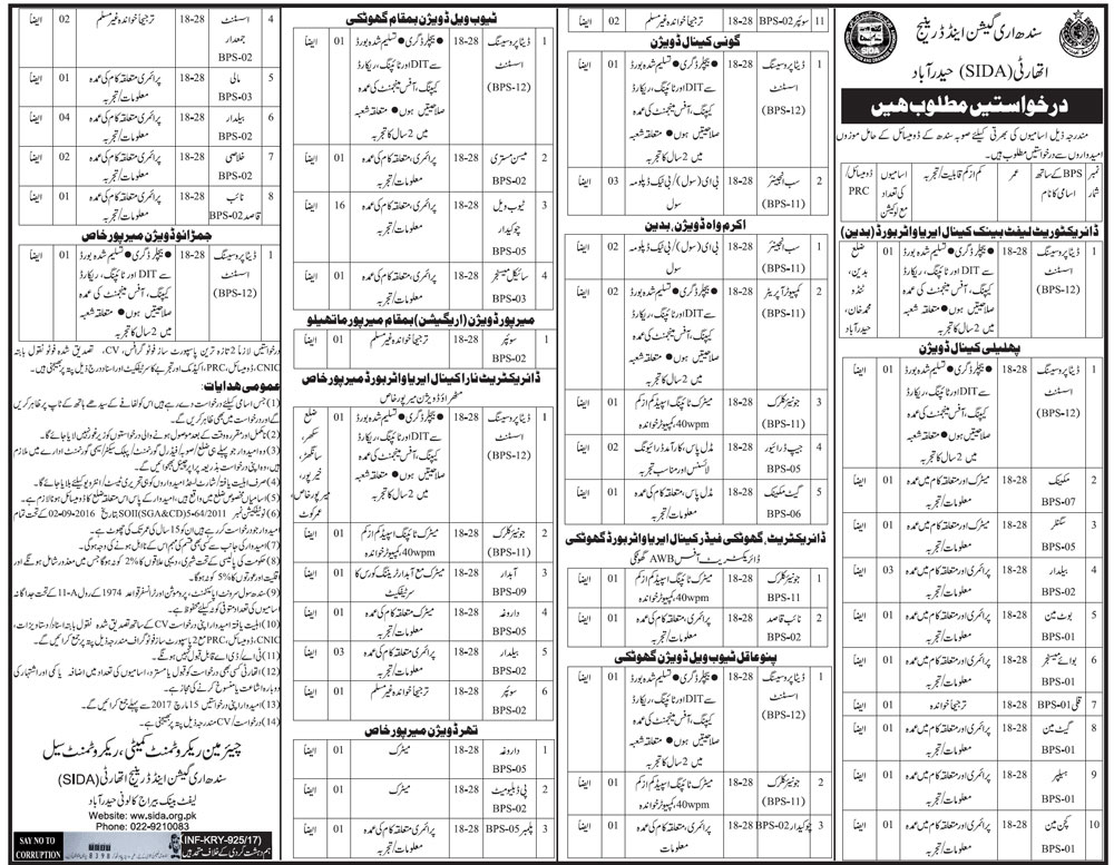 Jobs Sindh Irrigation And Drainage Authority 28 February 2017