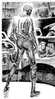 Illustration by Leo Summers, accompanying the original publication in Analog magazine of short story Oneness by James H Schmitz. Picture shows the prisoner surprising his interrogators.