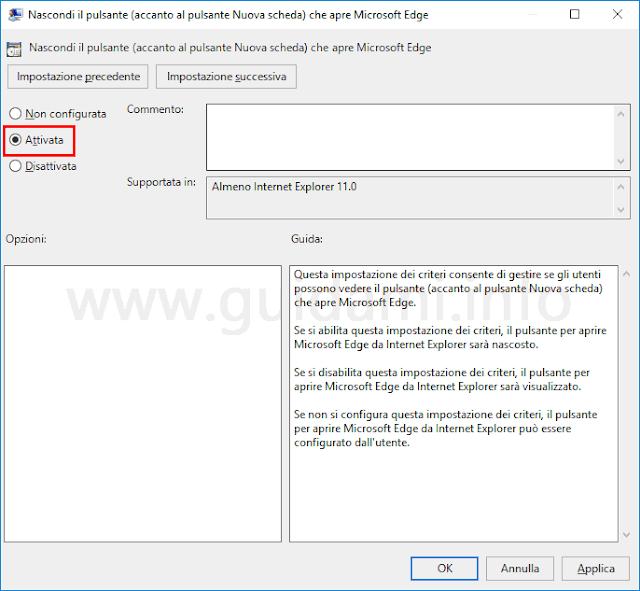 Impostazione Editor Criteri di gruppo locali per nascondere il pulsante Apri Microsoft Edge nella barra schede di Internet Explorer