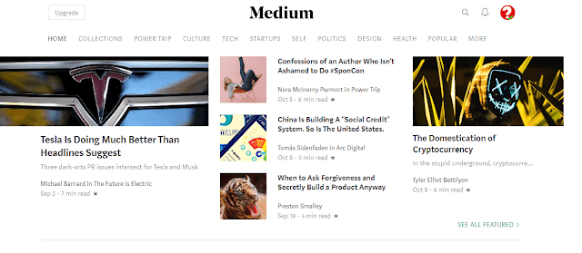 medium,blogging platforms,bloggiing,free website maker