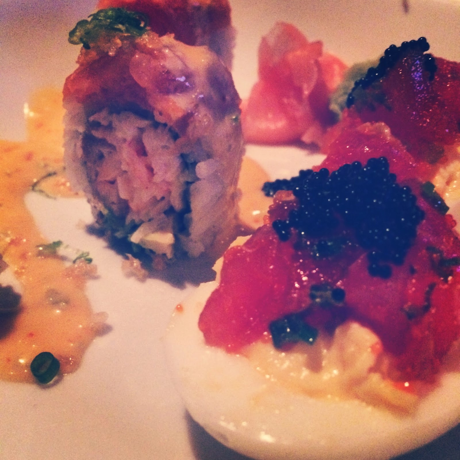 Rock-n-Sake prepared some Sushi Deviled Eggs topped  with Tuna Tar Tar and Caviar and a Salmon Roll as well.