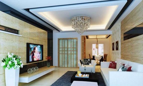 plafon pvc ruang tamu sederhana