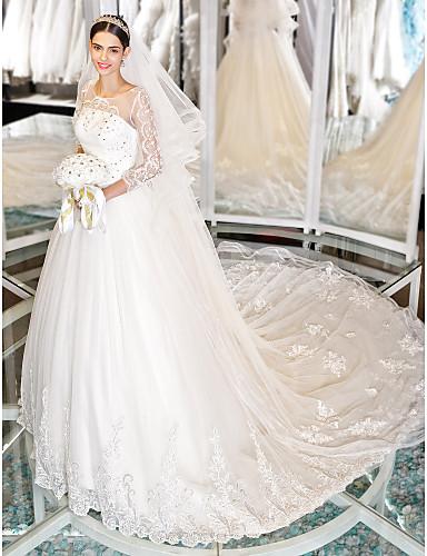 vestidos de novia con manga larga encaje