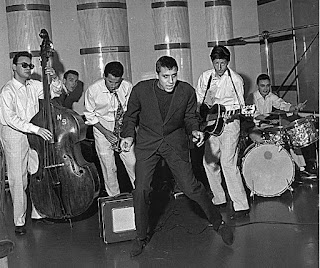 Celentano, centre, with his 1950s band The Rock Boys