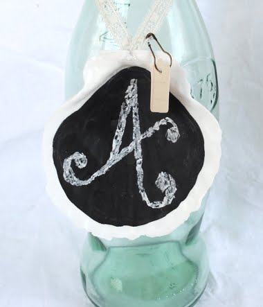 shell painted with chalkboard paint