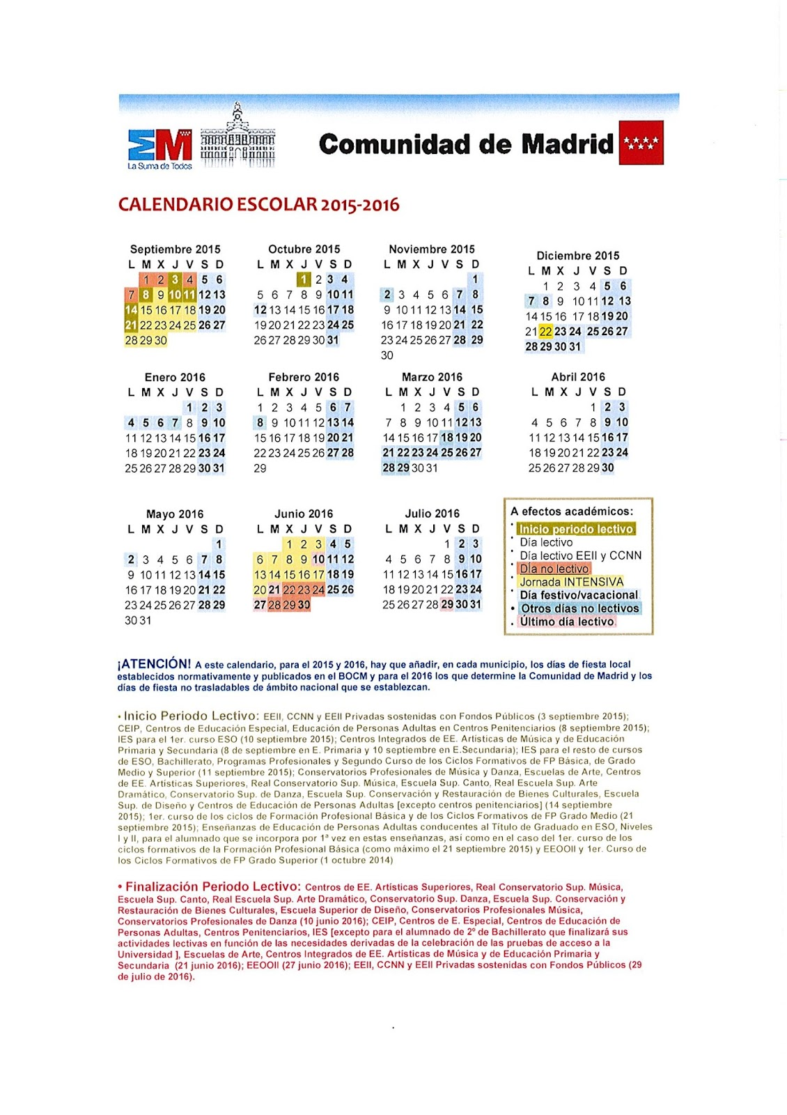 Calendario Academico Madrid.Calendario Escolar 2015 2016