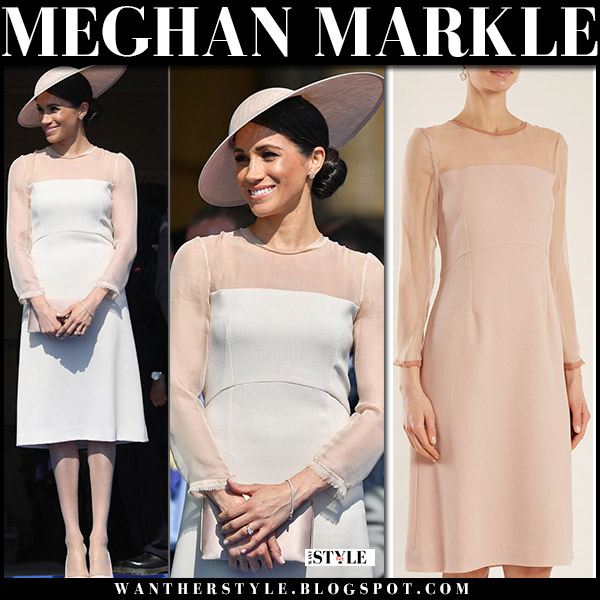 Meghan Markle in pale pink mesh detail dress goat and tamara mellon pink pumps royal fashion may 22