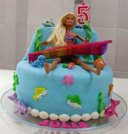 Bolo aniversário Barbie Sereia para festa infantil