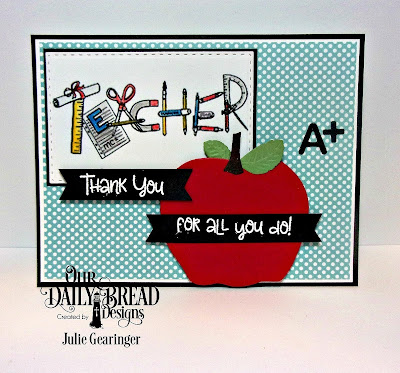 Our Daily Bread Designs Stamp Sets: Teacher Tools, Seeds of Knowledge, Custom Dies- A+ Apples, Double Stitched Rectangles, Paper Collection: Birthday Brights