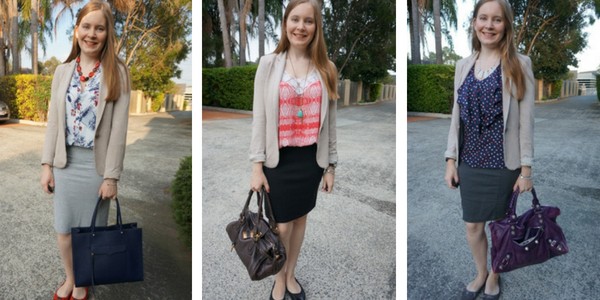 3 ways to wear a jersey blazer with pencil skirts for business casual office | away from blue