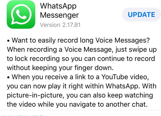 {filename}-Ios Whatsapp New Live Update, Allows You To Watch Youtube Videos Right Inside Whatsapp